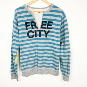 Free City Blue Gray Striped Long Sleeve Sweatshirt